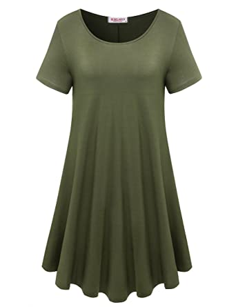 c59dbb92830 BELAROI Womens Comfy Swing Tunic Short Sleeve Solid T-Shirt Dress (S, Army