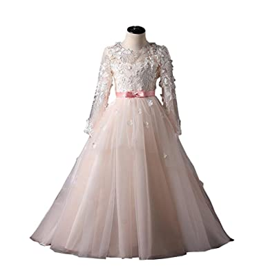 570cd0b7d4f2 Amazon.com  Fannydress Girls Pageant Dresses 7-16 Long Sleeve Hand ...