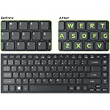 Royal Green Glowing Fluorescent Keyboards Stickers for PC, Large Lettering Work Easily and Type Faster in Dimly Lit Spaces, See Keyboard Clearly Day/Night English, Neon Green