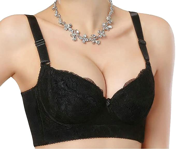 ed706add188ce GloryA Women s Bow Breathable Underwire Push-up Floral Lace Bralette Bra  Black 32B
