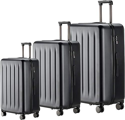 NINETYGO Luggage Sets 20 24 28 Inch , 100 Polycarbonate Hardside Luggage with Spinner Wheel, Lightweight Hardshell TSA Compliant Suitcase Black