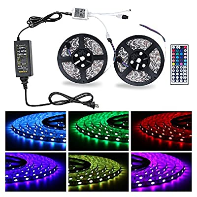 Chnano Strip Lights Kit- 32.8ft(2x5m) LED Lights Strips 5050 RGB, 300 SMD Sweatproof with color,44 keys Remote Control,LED ribbon,Power Supply, DIY Christmas Holiday Home Car Bar Party Decoration