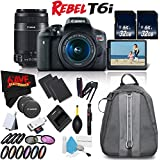 6Ave Canon EOS Rebel T6i DSLR Camera w/18-55mm Lens International Version (No Warranty) + Canon 55-250mm IS STM Lens + Deluxe Cleaning Kit + 3 Piece Digital Grey Balance Cards Set Bundle