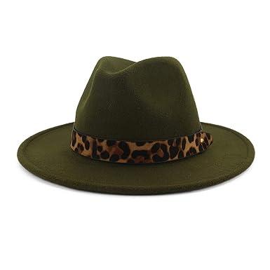 d85f496e42417 Fedoras Hats for Women Wide Brim Felt Hat Tweed Army Green Jazz Cap ...