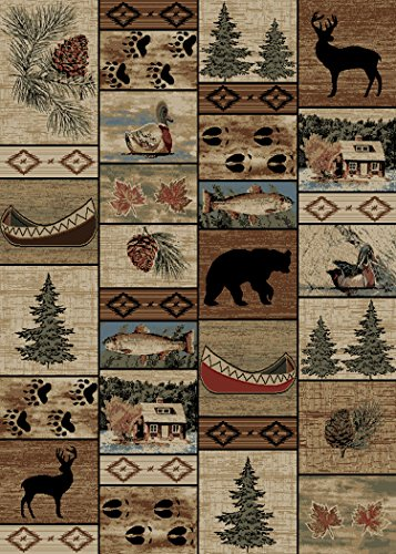 - Rug Empire Rustic Lodge River Run Cabin 5X7 Area Rug, 5'3x7'3