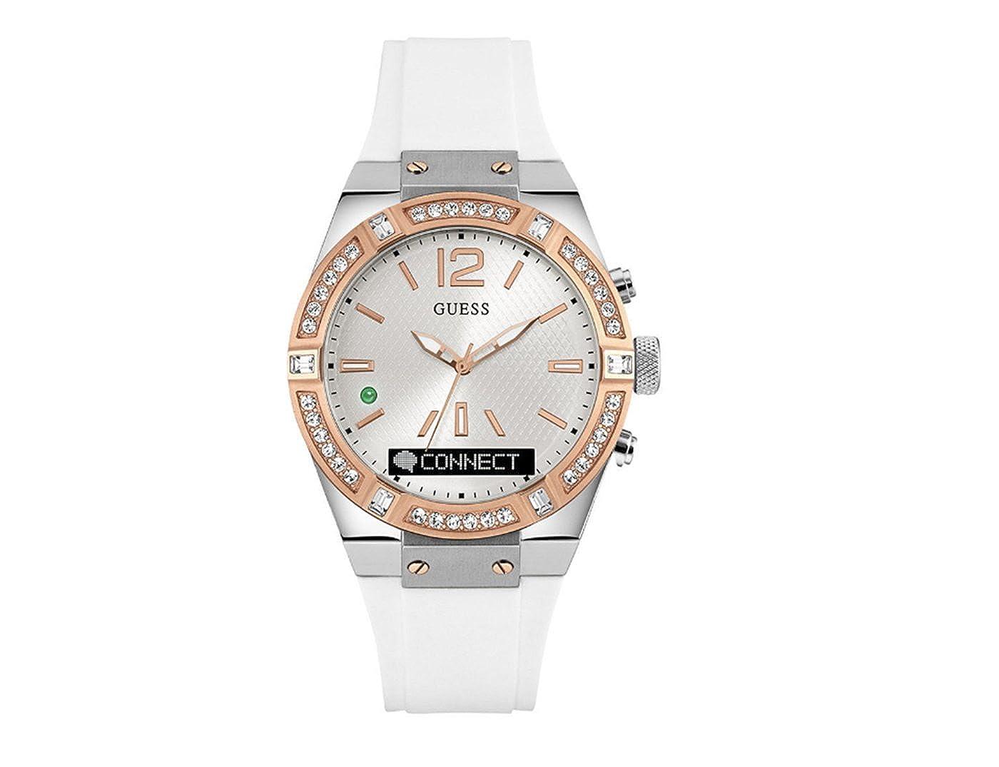 (ゲス) GUESS Women's Connect 41mm レディース スマート 腕時計 Ladies Smart Watch in White/Silver/Rose Gold Tone 並行輸入品】 [並行輸入品] B01JG7CSIY