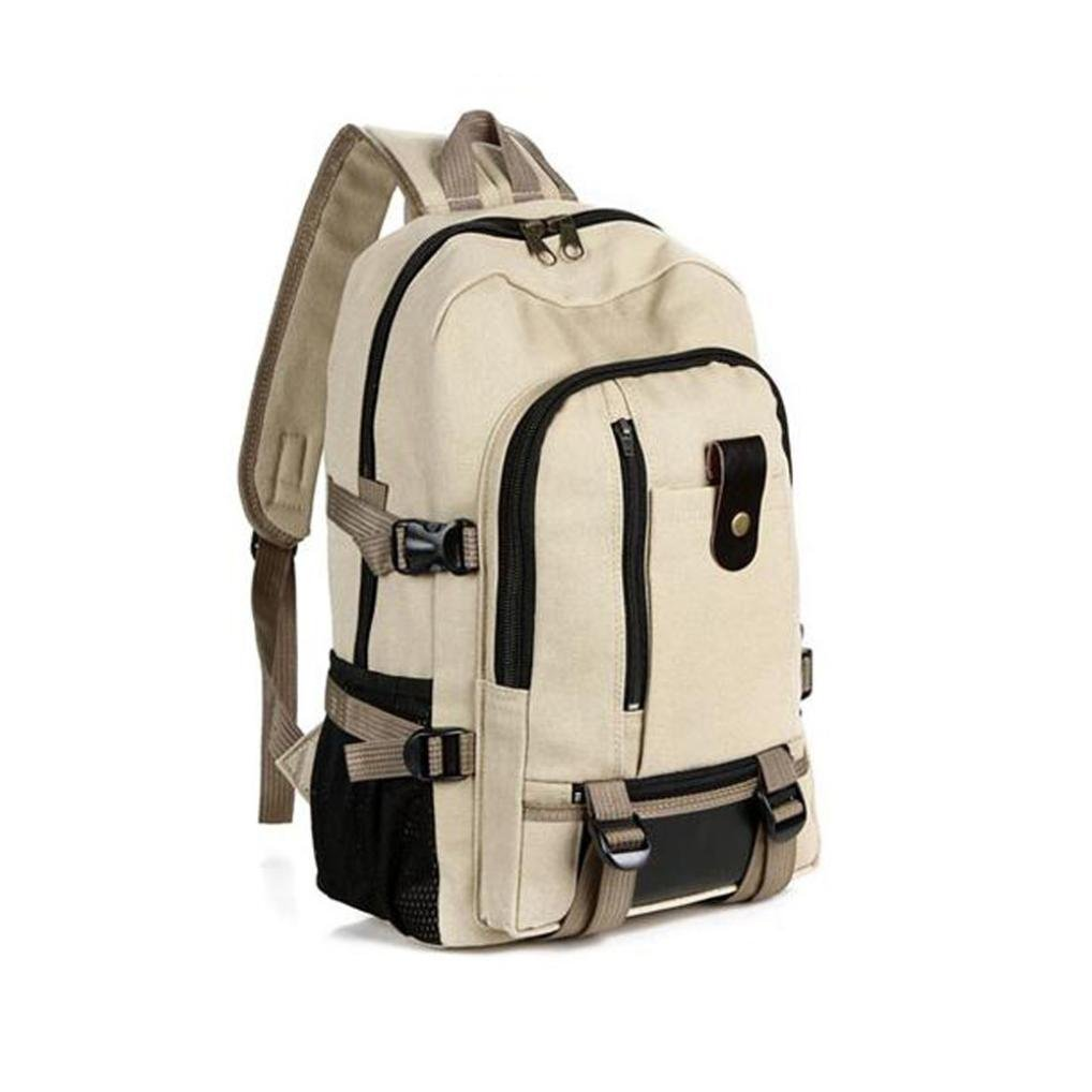 Men Casual Travel Canvas Leather Backpack Sport School Hiking Bag (Khaki) by Napoo-Bag