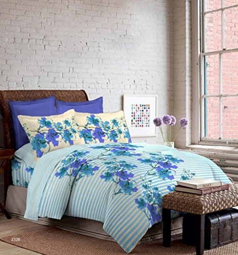 Bombay Dyeing Foliage 130 TC Polycotton Double Bedsheet with 2 Pillow Covers – Blue.