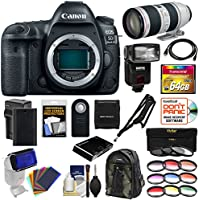 Canon EOS 5D Mark IV 4K Wi-Fi Digital SLR Camera Body with 70-200mm f/2.8L IS II Lens + 64GB Card + Battery & Charger + Backpack + Flash + Filters Kit