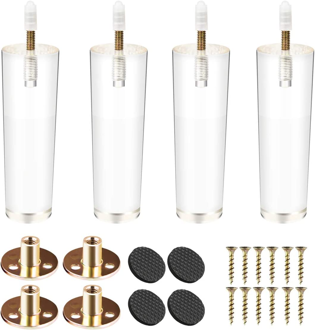4 inch Acrylic Furniture Legs, Btowin 4Pcs Tapered Clear Glass Furniture Feet with Threaded 5/16'' M8 Hanger Bolts & Mounting Plate & Screws for Cabinet Coffee Table End Table Bed