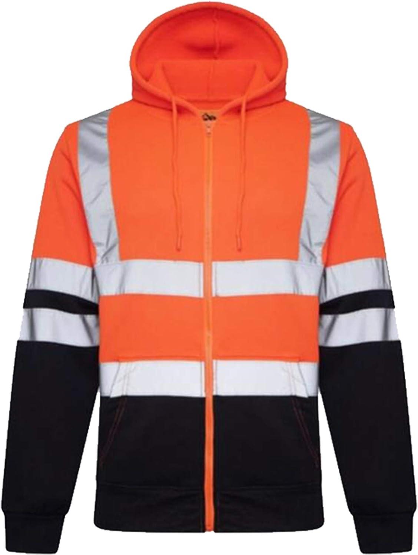 INDX Clothing Mens Hi Viz Visibility Zip Up Fleece Hoody Hooded Sweatshirt Safety Security Work Jumper Top
