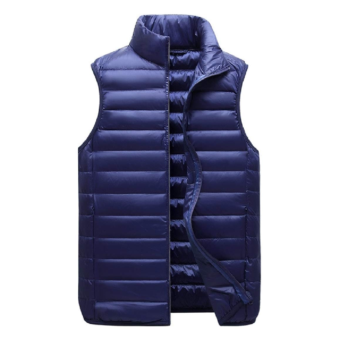 RingBong Mens Sleeveless Regular-Fit Brumal Stand up Collar Full-Zip Packable Down Vests Jacket