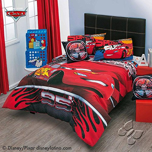 Cheap JORGE'S HOME FASHION INC CARS CHAMPIONS DISNEY PIXAR ORIGINAL LICENSE KIDS BOYS REVERSIBLE COMFORTER SET 5 PCS TWIN SIZE for sale