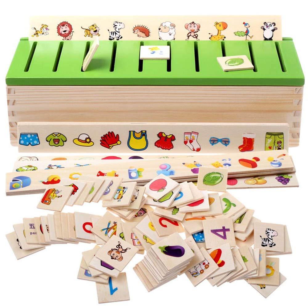 Nouveau modèle de Jeu de Jouet Jouets en Bois Montessori Puzzle, Jouet éducatif pour Inspirer l'intelligence des bébés, 8 catégories de Connaissances, 80 Objets Convient à Tout Le Monde