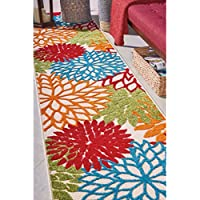 AM 1 Piece 23 x 10 Orange Blue Beach Theme Runner Rug, Indoor Outdoor Tropical Pattern Hallway Carpet Red Green Coastal Nautical Entryway Floral Entrance Way Summer Spring Themed, Polypropylene