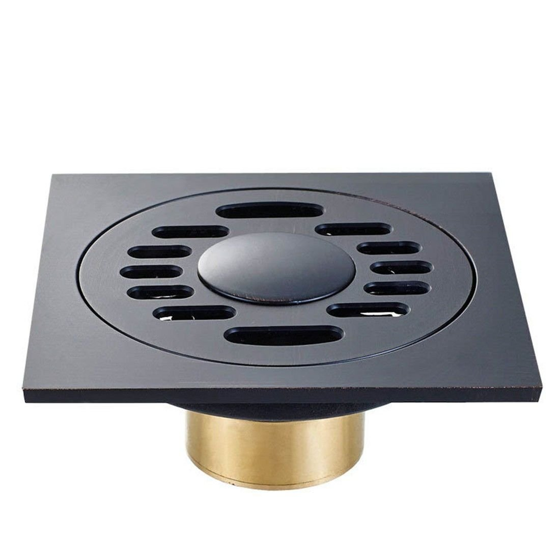 Black Bronze Bronze square odor-proof floor drain, American black bathroom balcony drainage, B (washing machine with)