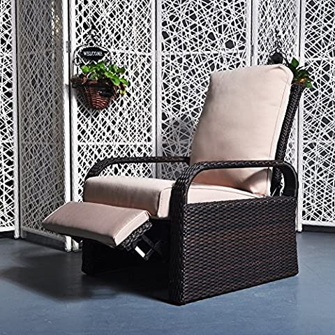 Wicker Patio Chair Sofa - Radom Bonus Armrest Organizer - ATR TO REAL Adjustable Recliner With Cushions - Aluminum Frame with Resin Wicker - UV/Fade/Water/Sweat/Rust - Over Dual Reclining Loveseat