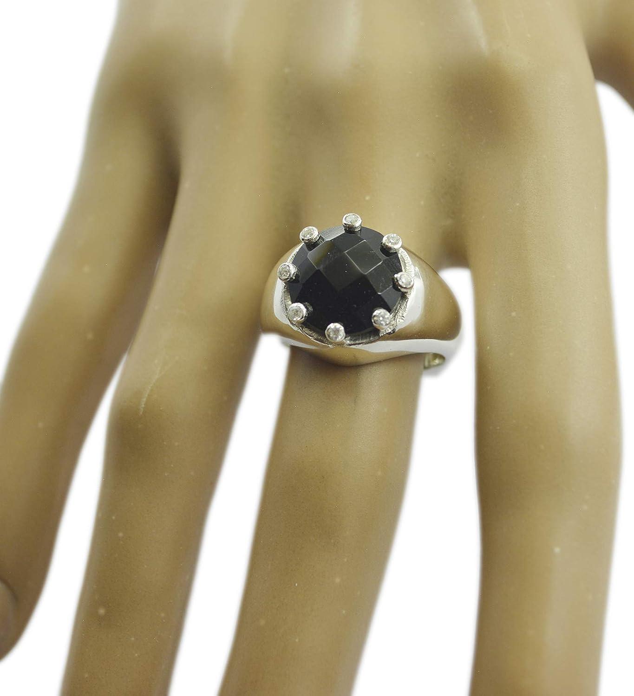 Black Onyx Black Gems Silver Ring Gemstones 925 Sterling Silver Cute Genuine Black Ring