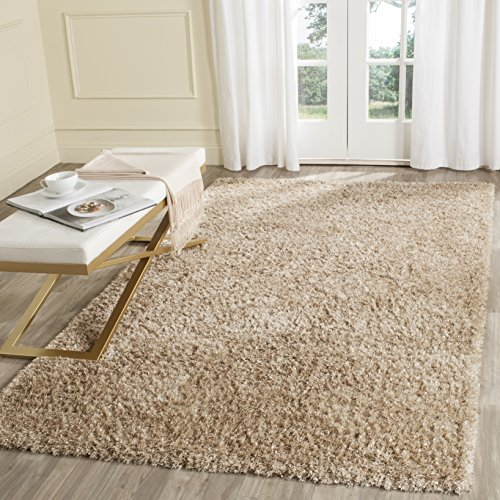 Safavieh Malibu Shag Collection MLS431N Handmade Natural Polyester Area Rug (8' x 10') (Shag Natural)