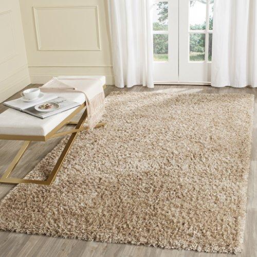 Safavieh Malibu Shag Collection MLS431N Handmade Natural Polyester Area Rug (8' x 10') (Natural Shag)