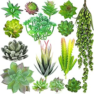 Childom Faux Succulents,15 Artificial Succulents Plants Flocked Green Unpotted Fake Succulents Stems Bouquet String of Pearls Echeveria Succulents for Floral Arrangement 112