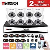 TMEZON 8CH 720P/1080N AHD Video HDMI DVR Home Security System 8 AHD 1.3MP Super Night Vision 48IR Range Indoor/Outdoor Security Surveillance Camera with 2TB Hard Drive
