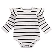 Infant Baby Girls Long Sleeve Bodysuit Romper Ruffle Fly Sleeve Triangle Cotton Jumpsuit (80(6-9M), White)