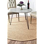 nuLOOM Elijah Seagrass with Border Rug, 8 Round, Beige