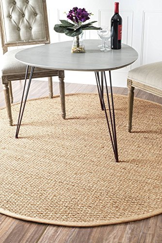 nuLOOM Elijah Seagrass with Border Rug, 6' Round, Beige (6' Round China)