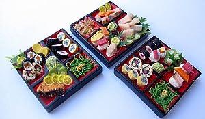 Mixed Set 3 Dollhouse Miniature Sushi Bento ,Tiny Food, Collectibles