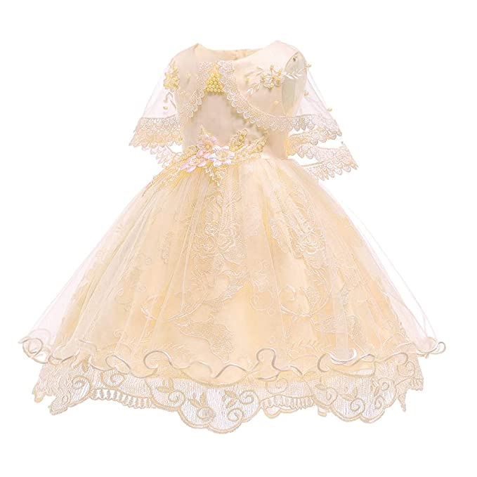 8a9c400f5986 XFentech Abito da Principessa Infantile - Pizzo Ricamato Fiore Battesimo  Neonata Carino Vestito da Partito  Amazon.it  Abbigliamento
