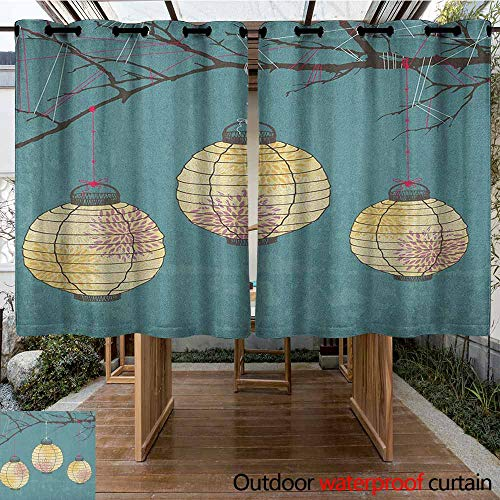 AndyTours Thermal Insulated Blackout Curtains,Lantern,Three Paper Lanterns Hanging on Branches Lighting Fixture Source Lamp Boho,Simple Stylish,K140C160 Teal Pale - Suede Paisley Curtain