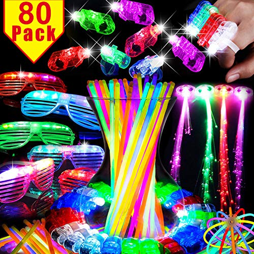 80 Pcs Glow in the Dark Party Supplies Light Up Toys for Outdoors Birthday Party Favors for Kids Adults Party Pack with 50 Glow Sticks Bulk 20 Finger Lights Elastic 4 Flashing Glasses -