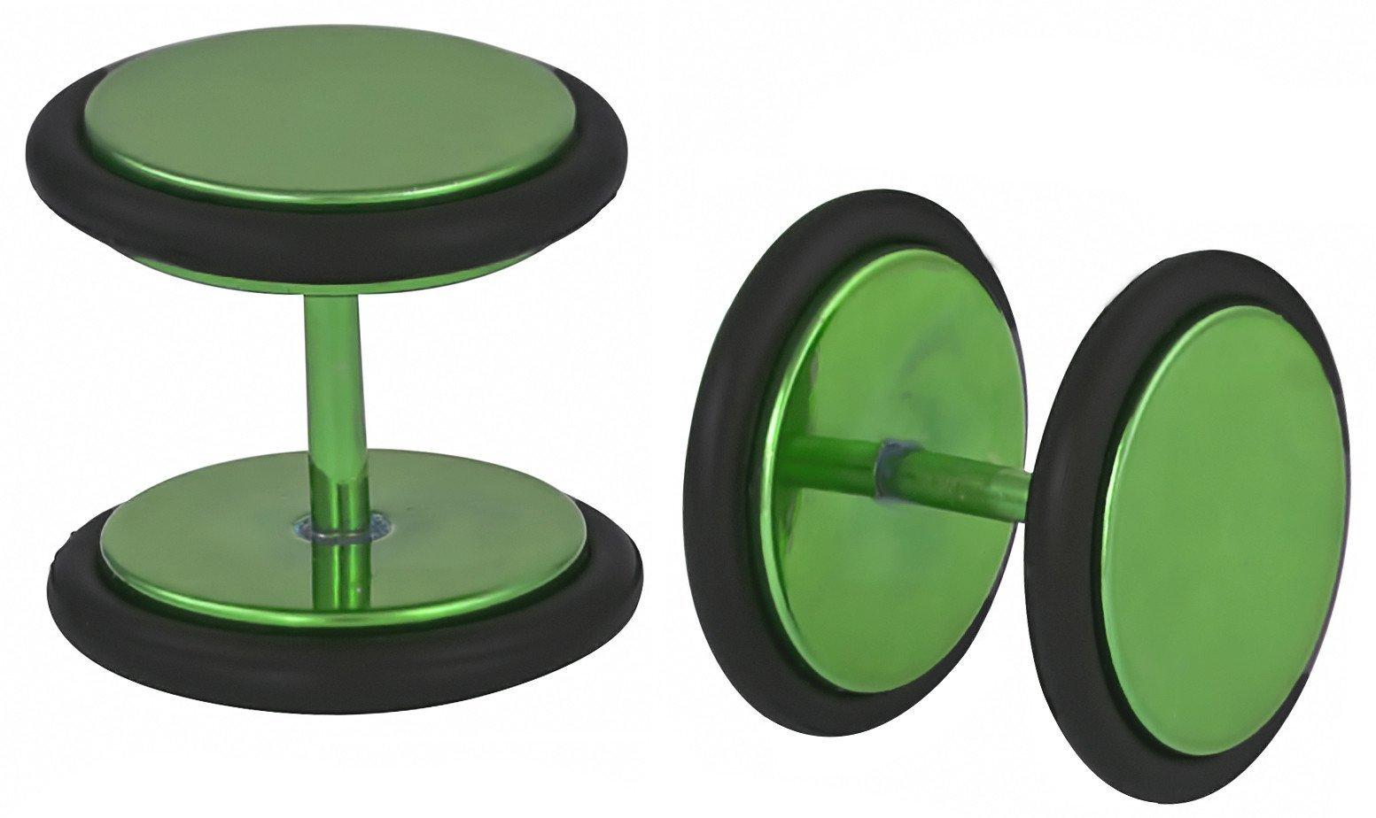 16g 10mm Titanium IP Green Surgical Steel Cheater Plug Earrings, Fake 00 Gauge Earrings