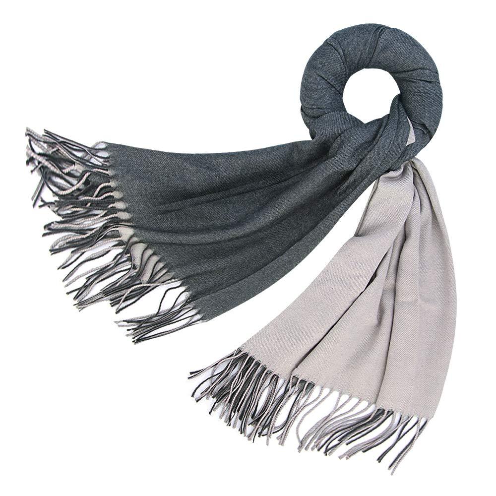 FORTREE Cashmere Feel Warm 2 Tone Shawl - Oversized 78''x28'' Wrap Scarf (Dark Grey and Grey)