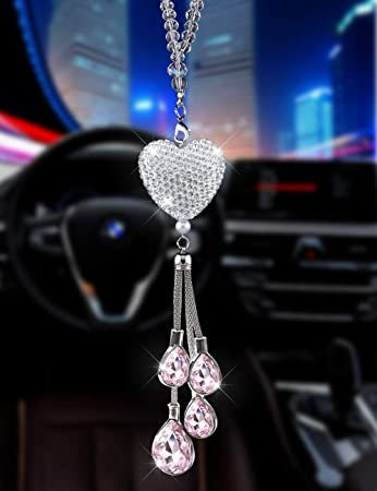 Pink SZWGMY Crystal Car Pendant Hanging Ornament Interior Accessories for Auto Rear View Mirror Hanging Decoration Home Decoration