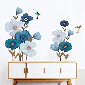DERUN TRADING White Flowers Floral Peel and Stick Wall Stickers Decals Murals Art Decor for Living Room Nursery Room Bedroom Office Bathroom Vinyl Removable Wall Decoration Romantic Beautiful Lovely