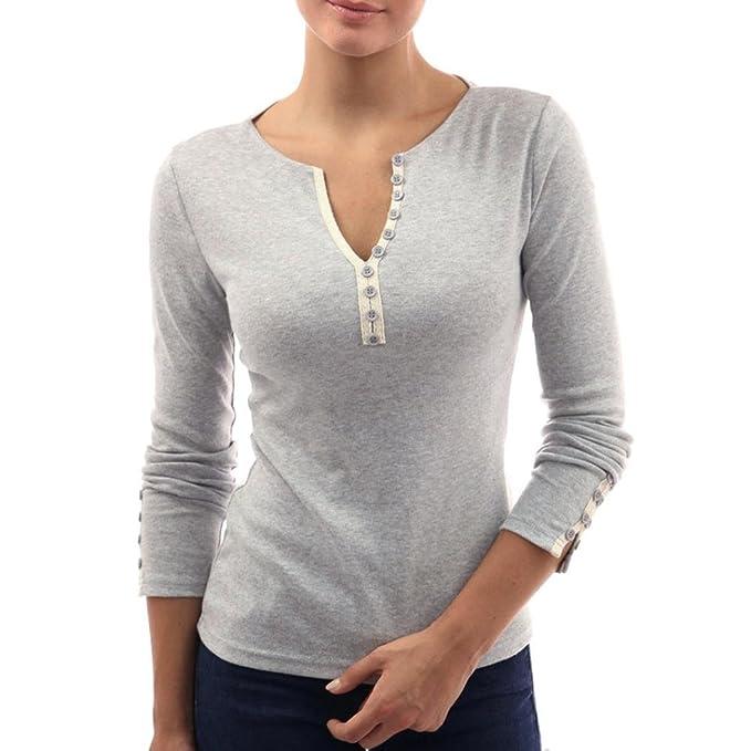 9ad621567b32c QinMM Mujer Camiseta con Mangas Largas Cuello V Camisa botón Blusa Jumper  Pullover Sudadera Remata T