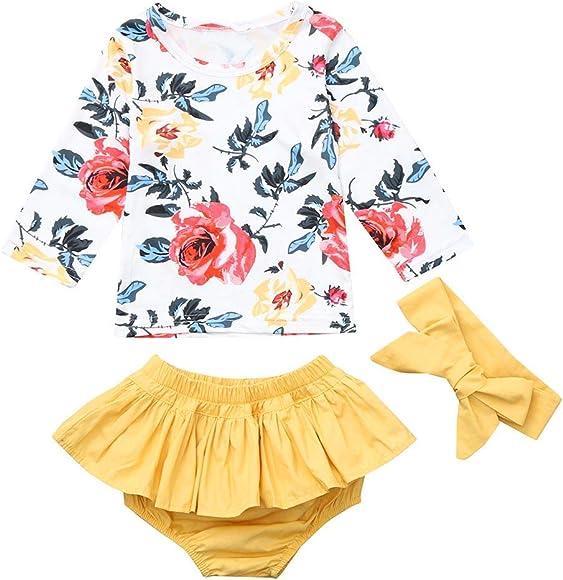 3pcs Kinder Baby Mädchen Tops Hose Set Outfits Kleidung Peony Floral T shirt