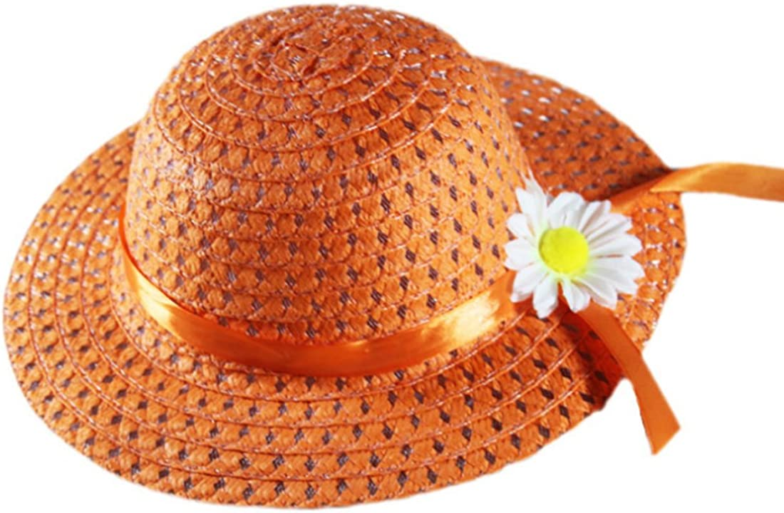 PINCHUANGHUI Sun Hat Papyrus Daisy Flower Straw Sun Hat Cap Purse Handbag Set for Kids Girls Beach Garden Tea Party