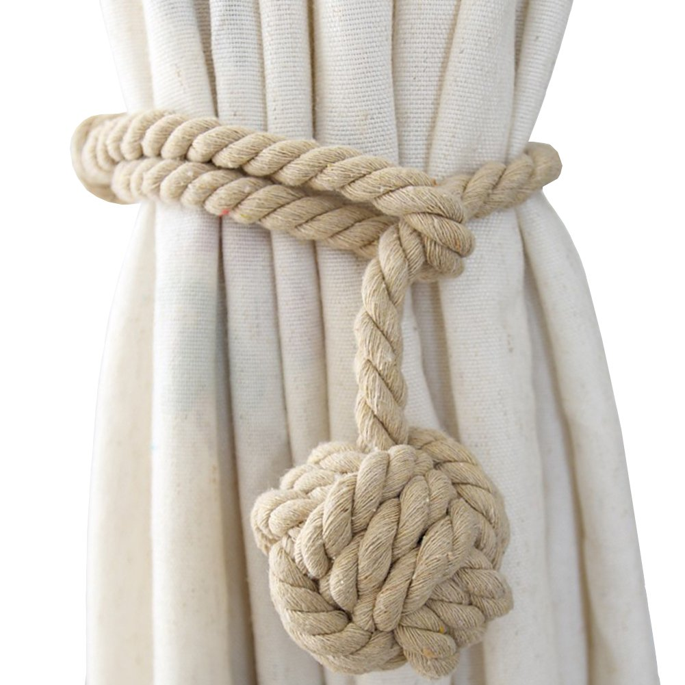 Chictie Natural Cotton Handmade Ball Knot Curtain Rope Cords Tiebacks Holdbacks Vintage American Rural Style Drapery Tiebacks Tie Band,Set of 2 (Dark beige)