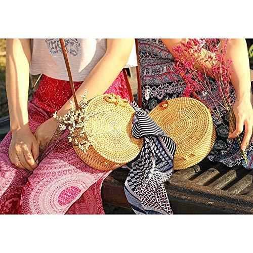 a Mujer Playa de Bolsos Ratán StageOnline Viaje Mano PU de de Ratán Hecha Cierre Bolsos y Bandolera para Redondos con Minis y 1wSXSn0Oq