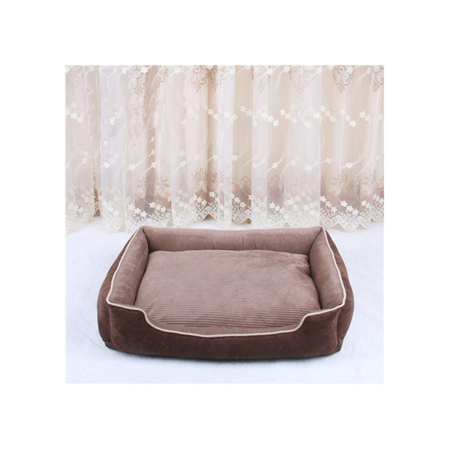 Removable Pet Dog Beds All Seasons Warming Dog Bed House Pets Sofa Mat Kennelt for Puppy Cat Pets Cushion Xs/S/M/L,Coffee,50X38X15Cm