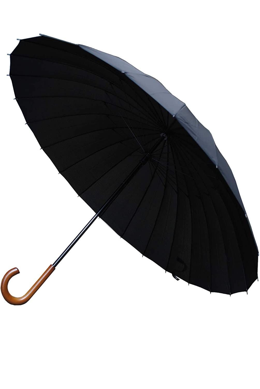 Collar and Cuffs London - 24 Ribs for Super-Strength - Windproof 95KPH Extra Strong - Triple Layer Reinforced Frame with Fiberglass - Wooden Hook Handle - Solid Wood - Black Canopy Umbrella CCLSTORMPUMB10273