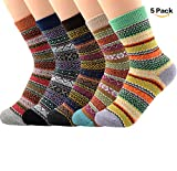 Womens Girls 5 Pack Vintage Warm Knit Wool Sock Colorful Casual Stain Resistant Stripe Pattern Socks