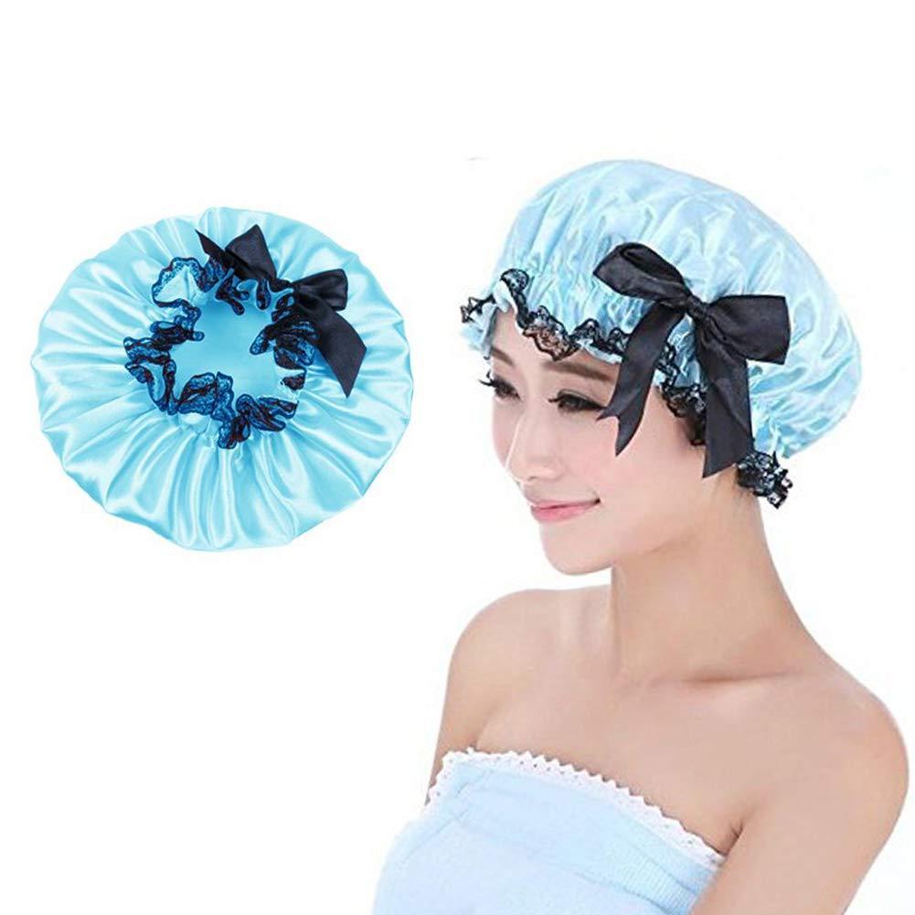 Duschhaube Duschhaube Wiederverwendbar Damen Elastische Wasserdichte doppelte Schicht Frauen Duschhaube für Bad oder Spa (Blau) EQLEF®