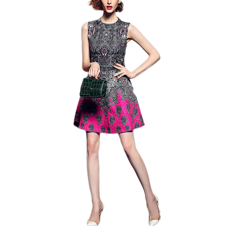 WintCO Damen Elegant Minikleid Perlstickerei Kleid Stoffdruck Blumen Muster Stehkragen Aermellos Abendkleid Prinzessin Stil