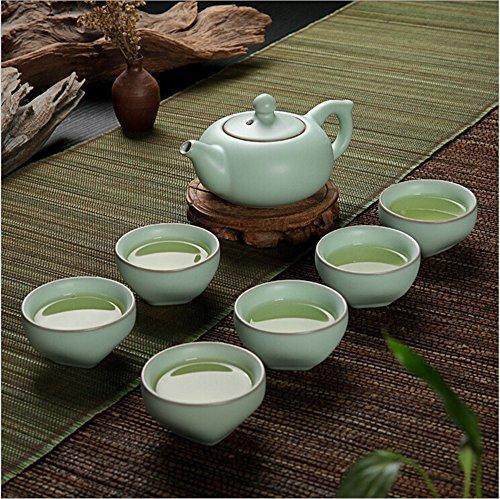 Eternal Chinese Ceramic Kung Fu Tea Set,Ice Crack Tea Pots with Cups (Ice Crack Royal) (Style Tea Set)