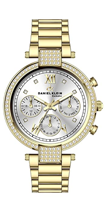 Reloj Daniel Klein con Circonitas en Acero Dorado Reloj Daniel Klein de esfera plateada con circonitas en acero dorado.: Amazon.es: Joyería
