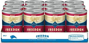Blue Buffalo Freedom Grain Free Natural Adult Wet Dog Food Beef 12.5oz cans (Pack of 12)